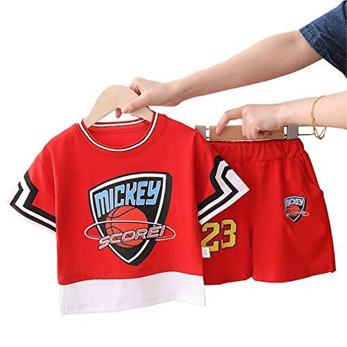 Mickey Scorei # 23 Kinder Basketball Trikots Sets, Jungen Mädchen Weste Shorts Sets Quick Dry Mesh Sportswear Rot-red-XL