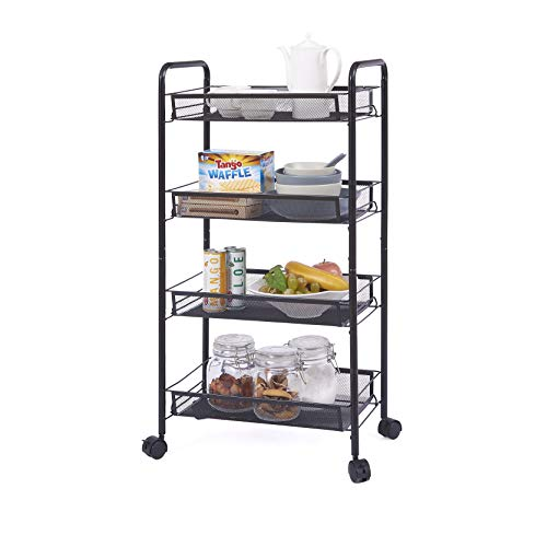OVICAR 4 Tier Mesh Wire Rolling Cart, Kitchen Storage Organizer Utility Cart, Full Metal Basket...