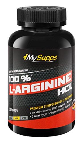 My Supps 100% L-Arginine-Hydrochlorid - hochdosiert - 5000mg pures L-Arginine (180 Kapseln)