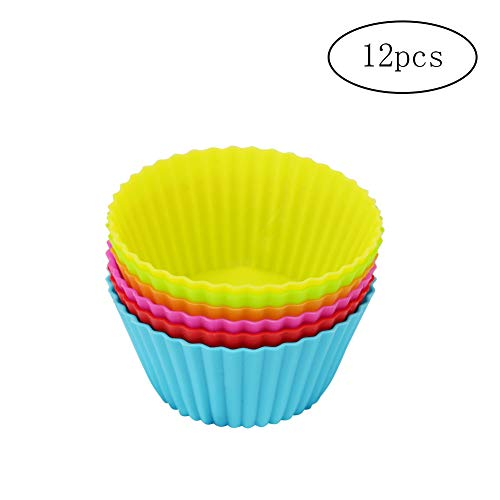 Ruijanjy 12 Stück Silikon-Backformen Muffin-Kuchen-Brot-Mousse, Gelee, Schokolade, Kuchen-Kasten-Form-Tins 6 Farbe Geschirr Silikon Bakeware