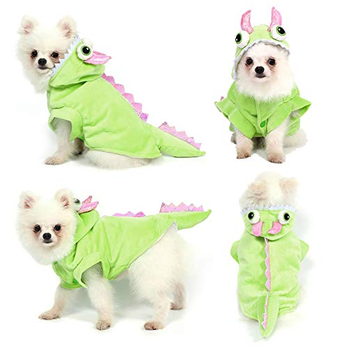 Yoption Dog Cat Dragon Costumes, Halloween Christmas Pet Puppy Cosplay Dress Hoodie Funny Clothes (L)