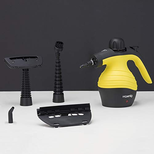H.Koenig NV60 Pulitore a Vapore, 1000 W, 0.3 Litri, plastica, Black, Yellow