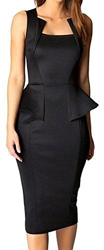Ourfashion Bodycon Midi or Mini Peplum Dress with Square Neckline Black XX-Large