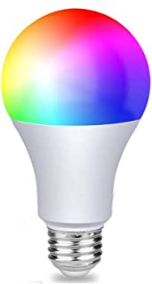 NYEAR Bluetooth WiFi Smart Light Bulb Wireless Multi RGB LED Color Changing Dimmable Smartphone App Controlled Daylight & Night Light No Hub Required Compatible with Alexa, Google Home, IFTTT, 2 Packs