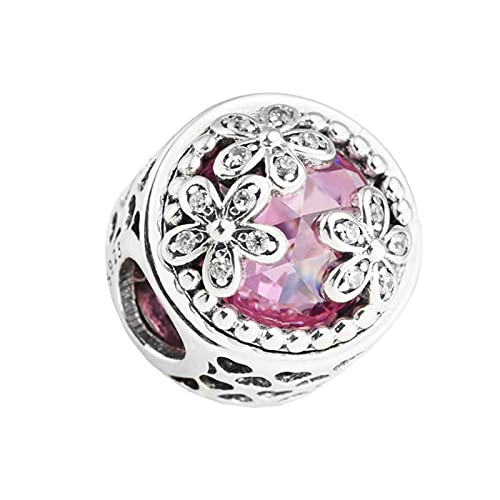 LILANG Pandora 925 Pulsera de joyería Plata de Ley Natural Corazón Hueco de Lujo Tres Flores Cuentas de Color Rosa Brillante Se Ajustan al Encanto Original Mujeres Regalos de Bricolaje