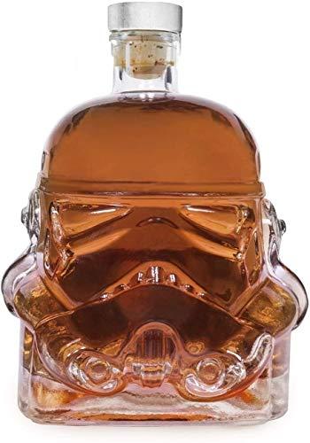 hermosa Whisky Decanter Whiskey Glasses Transparent Creative 750ml Whisky Flask Jarrafe Decanter, Botella, Whisky Jarrafe, Copa de cristal de Casco Taza de resistencia al calor para Whisky, Vodka y De