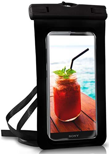 ONEFLOW wasserdichte Handy-Hülle für alle Sony Xperia | Touch- und Kamera-Fenster + Armband & Schlaufe zum Umhängen, Schwarz (Ocean-Black)