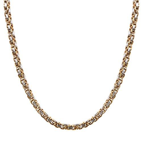 JewelryWe Schmuck Herren Halskette, 5mm Breite Edelstahl Biker Link Königskette Panzerkette Kette, Gold Silber, Länge 22 Zoll