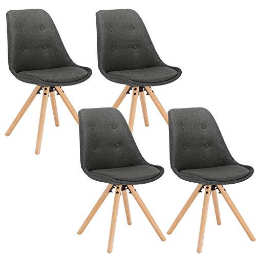 WOLTU® BH54dgr-4 4 x Esszimmerstühle 4er Set Esszimmerstuhl, Sitzfläche aus Leinen, Design Stuhl, Küchenstuhl, Holzgestell, Dunkelgrau