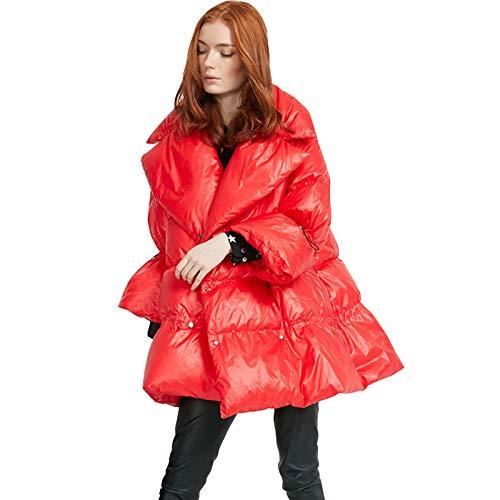 Winter Damen Daunenjacken, Glänzende Mittellange Stehkragen Dicke Warme Daunenjacken, Lässige Daunenjacken Für Männer Und Frauen,Rot,L