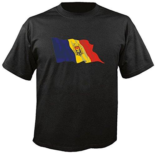 T-Shirt für Fußball LS116 Ländershirt L Mehrfarbig Moldova - Moldawien mit Fahne/Flagge - Fanshirt - Fasching - Geschenk - Fasching - Sportshirt freie Farbwahl