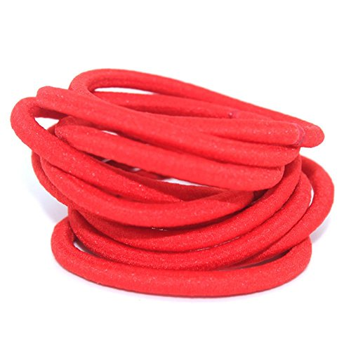 La Tartelette 4 mm Elastic Bands Hair Ties Children Rubber hair headbands - 10 Pcs (Red)