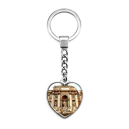 Hqiyaols Keychain Italien Trevi-Brunnen Rom Schlüsselkette Kreative Doppelseitige Herz-Kristall-Schlüsselkette Tourist Souvenir Metal