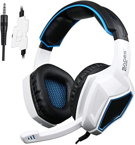 Huoqilin Casque de gaming pour PS4, SA920 3,5 mm avec microphone et contrôle du volume pour Xbox One/Xbox 360/PS4/PC/téléphones portables/iPad Noir/blanc
