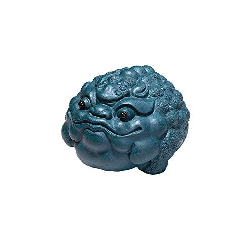 Estatua chinesische Feng Shui Fine Golden Toad Lucky Tea Bandeja Decoración Decoración Detalle Frog Feng Shui Statue Dorado Sapo Decoración de Escritorio Adecuado for Regalos Diarios Estatuas