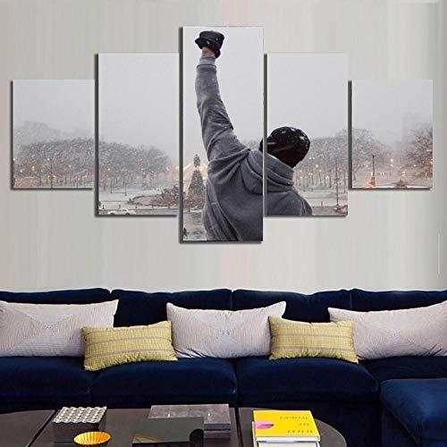 Sanzx Rocky Balboa - Lienzo con citas motivadoras (5 unidades, sin marco, 30 x 40 x 2 30 x 60 x 2 30 x 80 cm)