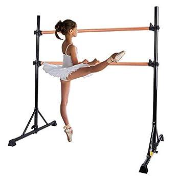 Z ZELUS Portable Ballet Barre Bar for Home Kids Ballet Bar 5ft Adjustable Freestanding Double Stretching Dance Bar Barre Exercise Equipment for Women with Heavy-Duty Beechwood 330 lb Capacity