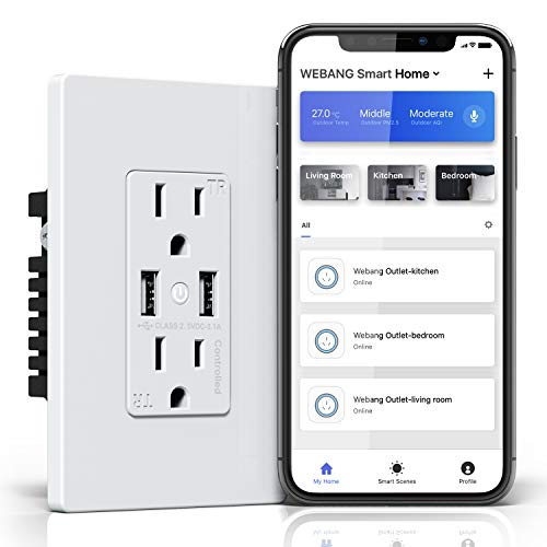 WEBANG Wifi Smart In-Wall TR White Outlet Receptacle with 3.1A USB Charger No Hub Required Work with Alexa Echo and Google Home