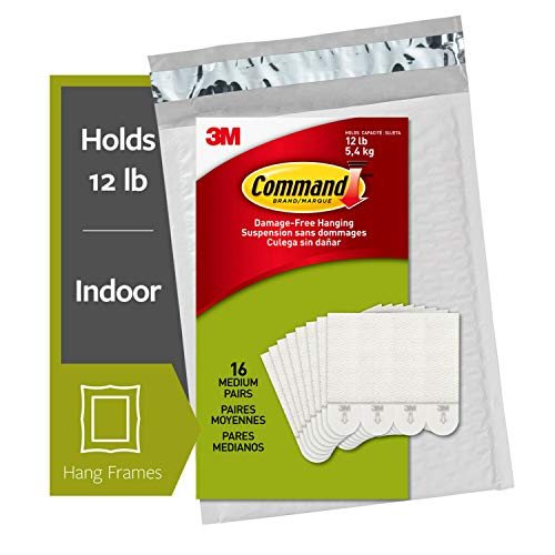 Command Picture Hanging Strips, Medium, White, 16-Pairs (PH204-16NA) - Easy to Open Packaging