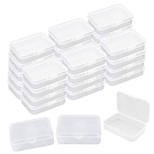 30 piezas Mini caja de almacenamiento, Caja de Contenedores de Almacenamiento de Plastico Transparente con Tapa para Joyas, Artículos, Tarjetas, 8,5 * 5,5 * 2,5 cm