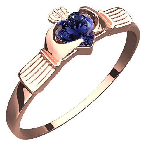 GWG Jewellery Anillos Mujer Regalo Anillo Fino de Claddagh, Chapado en Oro Rosa 18K Dos Manos Que Rodean Corazón de Circonita de Color Zafiro Azul con Corona - 9 para Mujeres