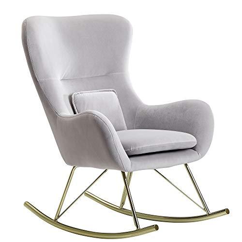 Wohnling Silla mecedora de terciopelo y metal, color gris claro, 74 x 101 x 89 cm, con patas doradas, tapizada moderna | Silla de lactancia, sillón de relax, sillón oscilante de 120 kg
