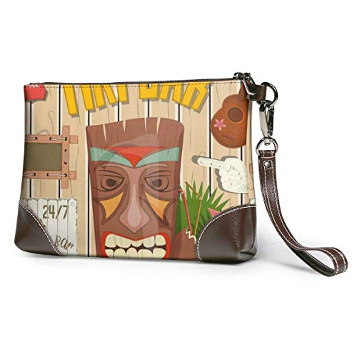 JHGFG Tiki Bar Poster Totem Leather Hand Bag 3D HD Printed,Makeup Bag Handbag Purse Wristlet Wallet Clutch Phone Purse Money Pouch Wristlet Clutch Bag Women Girls