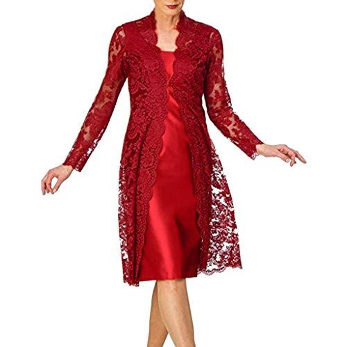 AmyGline Kleid Damen Vintage Retro Elegante Spitzenkleid Abendkleid Spitze Cardigan Kleid Zweiteiliges Brautkleid Brautjungfernkleid Abendkleid Ballkleid