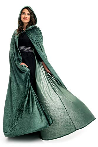 Little Adventures Deluxe Velvet Adult Cloak Cape with Lined Hood (Green),One-Size