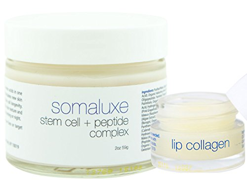 Somaluxe Collagen Facial Set: Stem Cell Moisturizer & Lip Collagen Anti-Aging for Youthful & Soft Skin