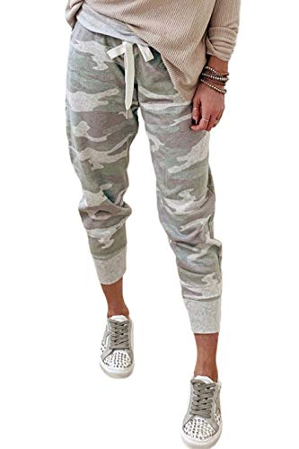 CILKOO Women Drawstrings Jogger Sweatpants Camouflage Stretch Lounge Pants with Pockets Camo Green US12-14 Large