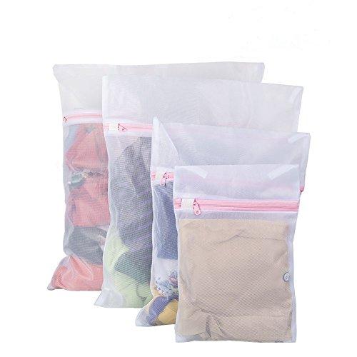 Tenn Well 4er Set Wäschebeutel, Wiederverwendbare Netzbeutel für Wäsche mit Reißvverschluss Ideal für BH, Unterwäsche, Socken, Strumpfhosen, Babysachen (Weiß)
