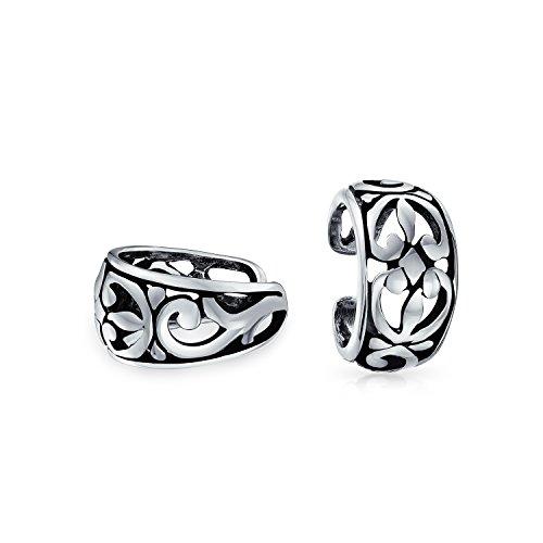 Cutout Filigree Flower Leaves Band Cartilage Ear Cuffs Clip Wrap Helix Earrings Non Pierced Ear 925 Sterling Silver