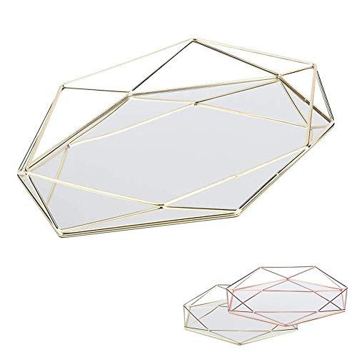 Geyan Bandeja de Almacenamiento de Joyas Plato de Servicio de Metal Letrero de Escritorio de Vidrio Decorativo para Collar de Anillo de Postre de Lápiz Labial Organizador de Almacenamiento Cosmético