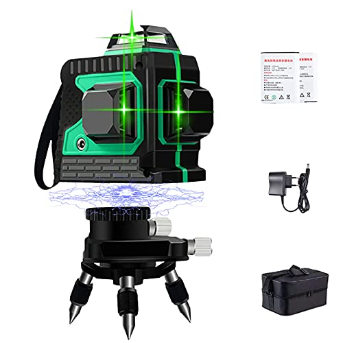 Nivel Láser Verde 12 lineas - Línea Láser Verde Cruzada 3x360 °, Líneas de Niveles Láser de Modo de Pulso, 360 Grados Horizontales y Verticales Autonivelantes, IP54 Impermeable con 2 Baterías