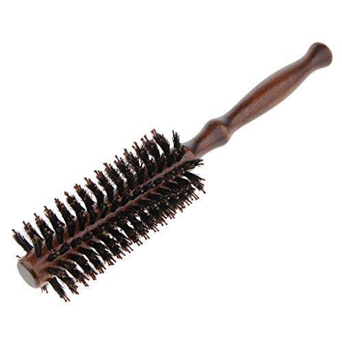 D DOLITY Peigne Brosse à Cheveux Ronde Poils en Soie pure Manche en Bois 10,63 pouces - marron 2