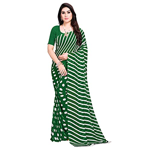 Anand Sarees Georgette Green Stripes Polka Printed Casual Wear Saree with Un-stitched Blouse Piece(1670_3), Standard