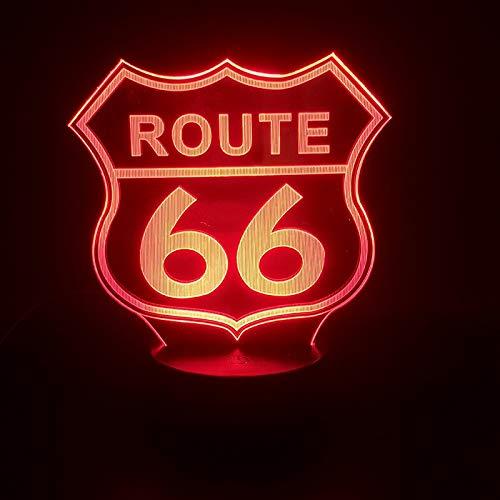Zhuhuimin 3D-licht Route 66 Bus-Touch-sensor voor verjaardagscadeau voor kamerdecoratie visueel effect LED-nachtlampje
