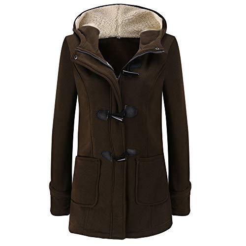 MRULIC Damen Winter Mantel Wärme Slim Kapuzenpullover Mantel Fleecejacken Fell Hoodie Sweatshirt Parka Jacken Overcoat RI-051 (EU-34/CN-M, Kaffeebraun)