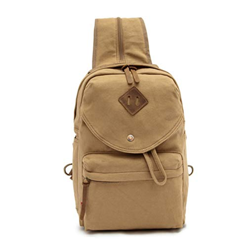 JIANZ Daypacks Shoulder Canvas Bag, Big Chest Bag, Retro Canvas Backpack, Couple Best Travel Backpack (Color : Khaki)