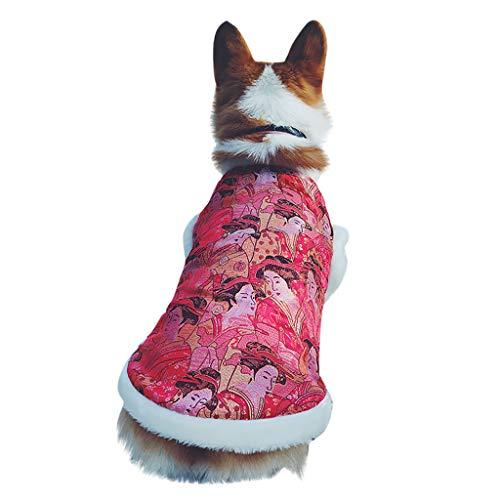 Yowablo Pullover Hunde Winterparka Regenmantel Outwear Parka Coat Winddichte Überzieher Softshelljacke Übergangjacke Weste Steppweste Outdoor Weste Hooded Weste Rundhals (M,Rot)