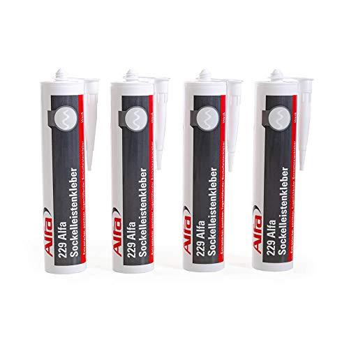 Sockelleistenkleber 4 x 429 g weißer Montagekleber mit hoher Anfangshaftung zur Befestigung von Sockelleisten