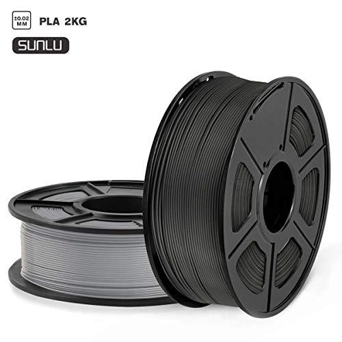 SUNLU Filamento PLA 1.75, Stampante 3D PLA Filamento 2kg Spool Tolleranza del diametro +/- 0,02 mm,PLA Nero+Grigio
