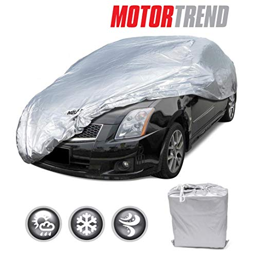 Motor Trend Universal WeatherWear Poly-1 Outdoor Car Cover- All Weather Snow Wind Rain & Water Proof Ultra Protection