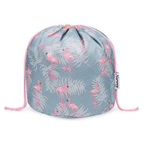 Barrel Makeup Bag Travel Drawstring Cosmetic Bag Pouch Large Toiletry Organizer Waterproof for Women and Girls (Large, Flamingo)