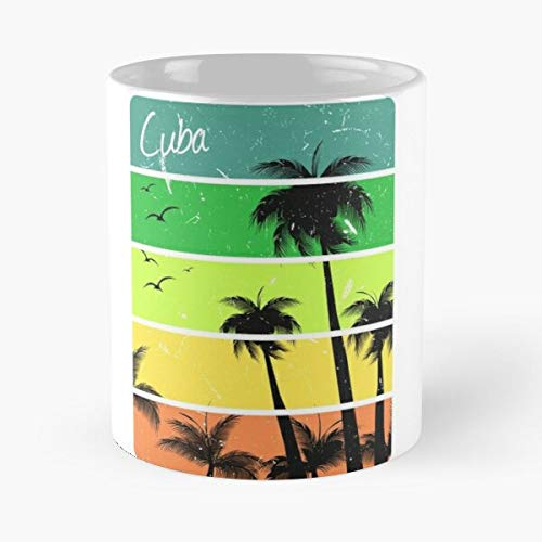 Sun Palm Cuba Bikini Summer Travel Vacation Bathe Tree To La Mejor Taza de café de cerámica Blanca de 11 oz