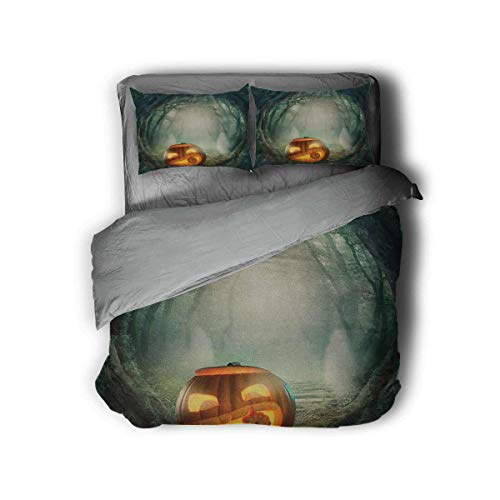 Luoiaax Halloween 3-Pack (1 Duvet Cover and 2 Pillowcases) Bedding Drawing of Scary Halloween Pumpkin Enchanted Forest Mystic Twilight Party Art Polyester (King) Orange Teal