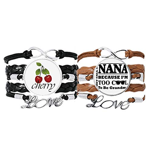 Cartoon Grandma Letters Present Best Wishes Bracelet Hand Strap Leather Rope Cherry Love Wristband Double Set
