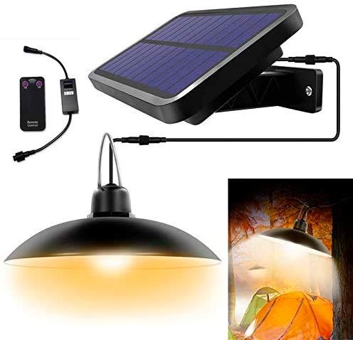 TAST Kronleuchter Solarleuchte mit Fernbedienung Retro Solar Lampenschirm LED-Lampe 3 Meter Kabel Hängelampe für Outdoor Garden Yard Lampe