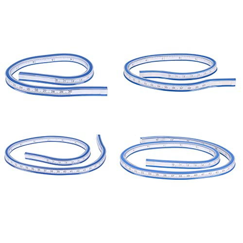 KINDPMA 4Pcs Regla Curvada Flexible Regla Plastico 30cm 40cm 50cm 60cm Regla Flexible Cinta Regla de curva flexible para Oficina Escuela Dibujo Ropa Carpintería